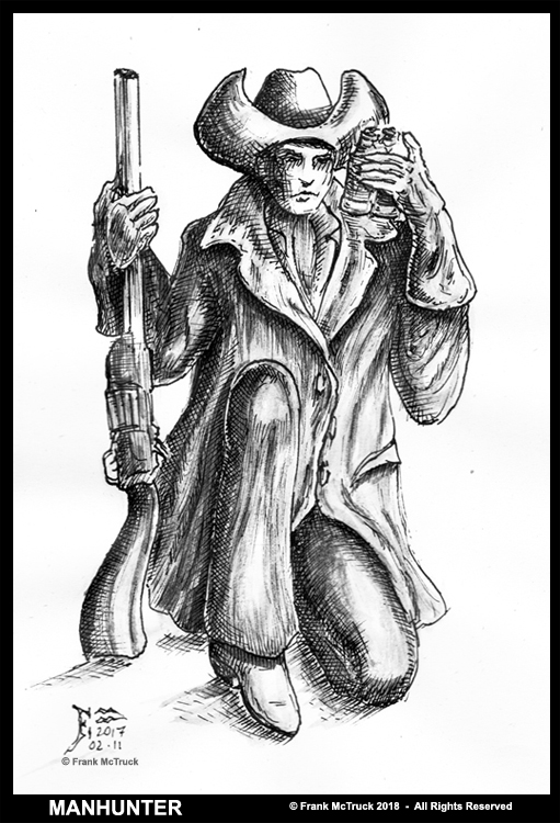 Frank McTruck pen and ink wash 'western' cartoon - 'Manhunter'