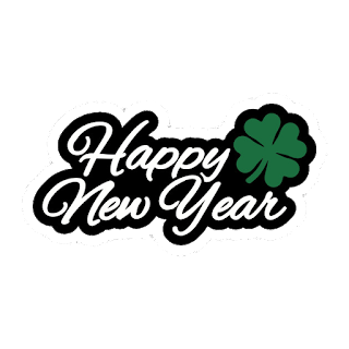 Happy new year write with white color with green flower