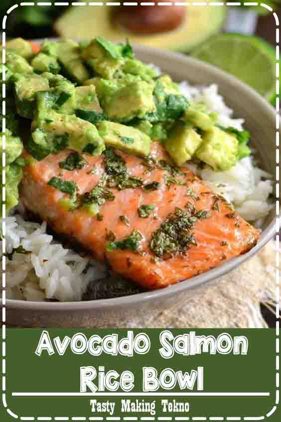 Slightly sweet cilantro lime rice topped with juicy salmon roasted in honey, lime, cilantro glaze and fresh cilantro avocado.