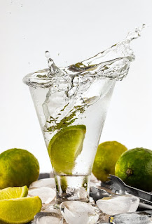 water and sliced lime
