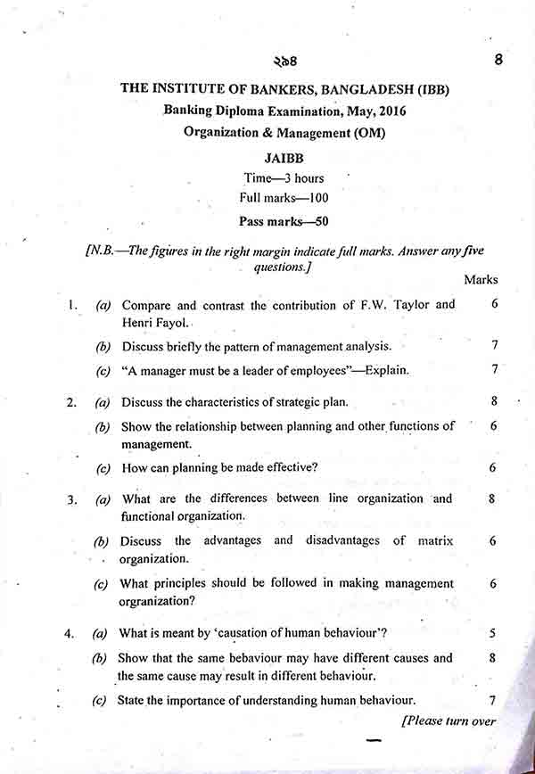 Organization and Management Question 2011-2018 - Banking