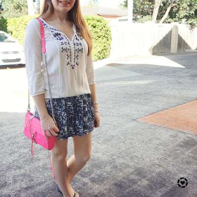 awayfromblue instagram neon pink mini MAC bag with blue soft printed shorts embroidered white blouse