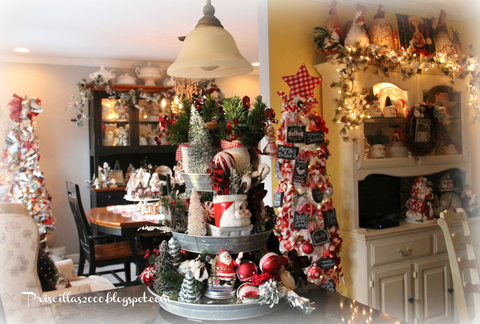 Love All The White Soup Tureens On Top Of Dining Room Hutch With Flocked Garland