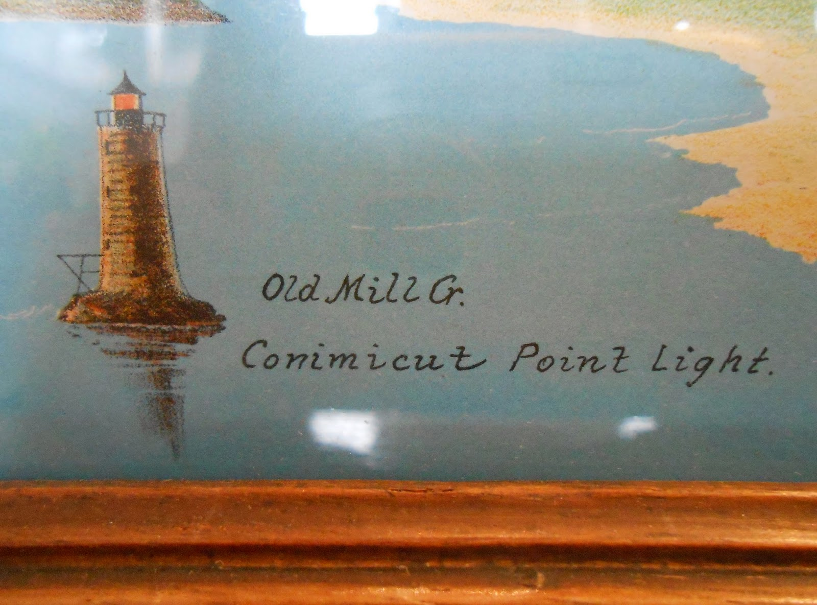 "A detail shot of an illustration of a lighthouse, captioned ""Old Mill G. Conimicut Point light."""