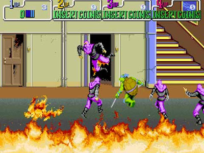 Teenage Mutant Ninja Turtles arcade della Konami: livello dell'incendio