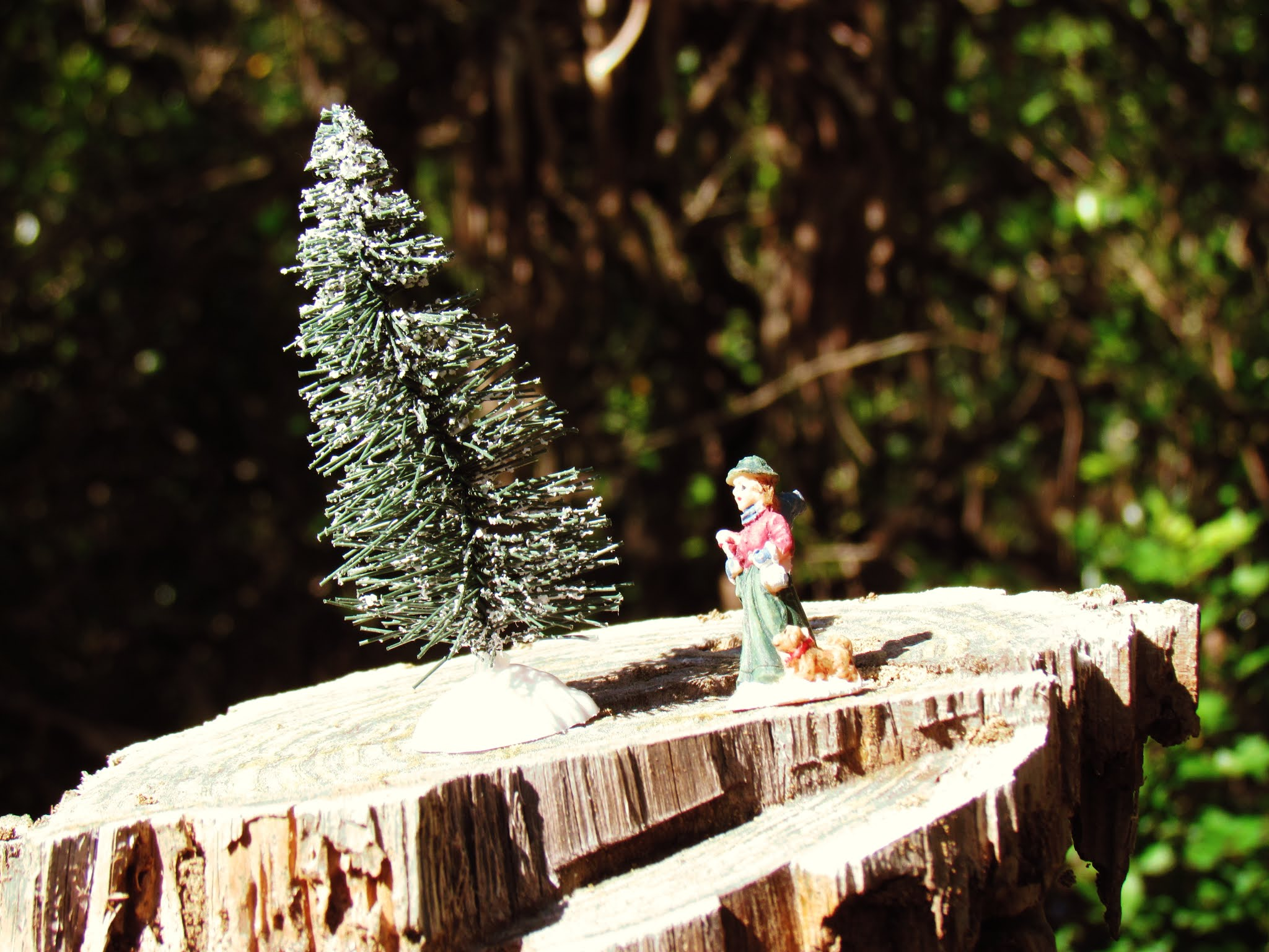 An old-fashioned Christmas spirit display with faux Christmas trees and figurines of Christmas carolers on wooden logs and tree stumps