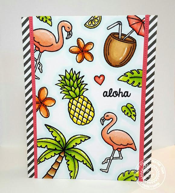 Sunny Studio Stamps: Tropical Paradise & Island Getaway Aloha card by Lindsey Sams.