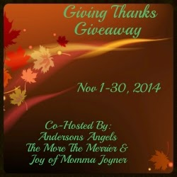 Enter the Giving Thanks Giveaway. Ends 11/30/14