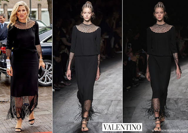 Queen Maxima wore a black dress from Valentino Spring Summer 2016 Collection