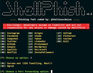 ShellPish V1.7 -  Tool Phising 18 Media Sosial