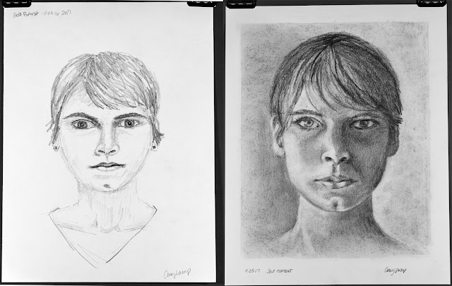 Pre- and post-instruction self portraits from Drawing on the Right Side of the Brain - Amy Lamp