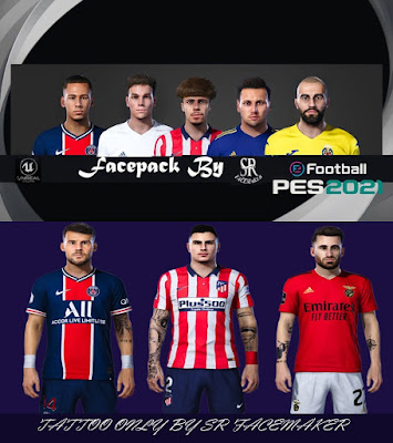 PES 2021 Faces & TattooPack 5 by SR