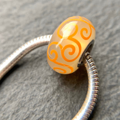 Handmade lampwork glass silver core big hole charm bead by Laura Sparling made with CiM Summer Haze