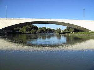 The Ponte Duca d'Aosta, which spans the Tiber in Rome, was constructed in 1942