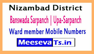Banswada Sarpanch | Upa-Sarpanch | Ward member Mobile Numbers List Nizambad District All Mandals in Telangana State