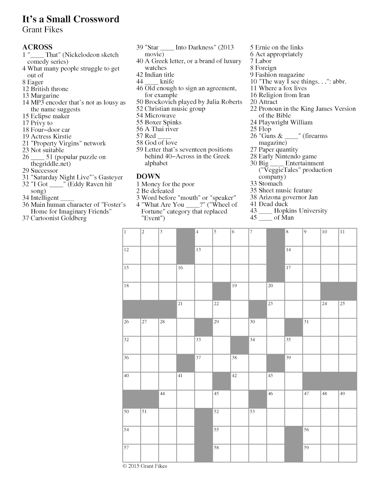 A Cleverly Titled Logic Puzzle Blog Wordy Wednesday 62 It S A Small Crossword
