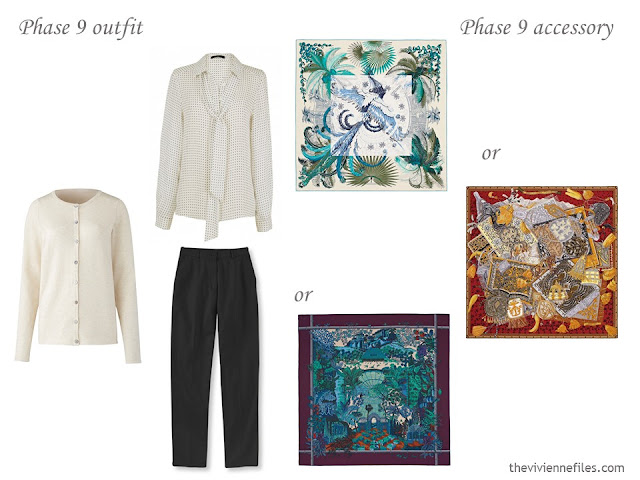 What Hermes scarf to wear with a beige and white outfit?