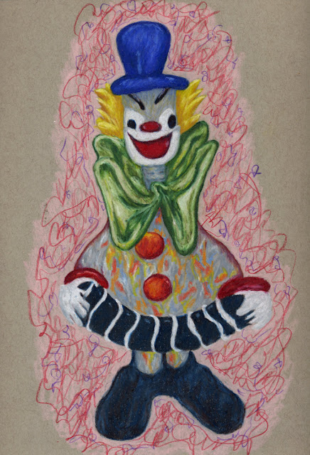 Colored pencil drawing of glass clown