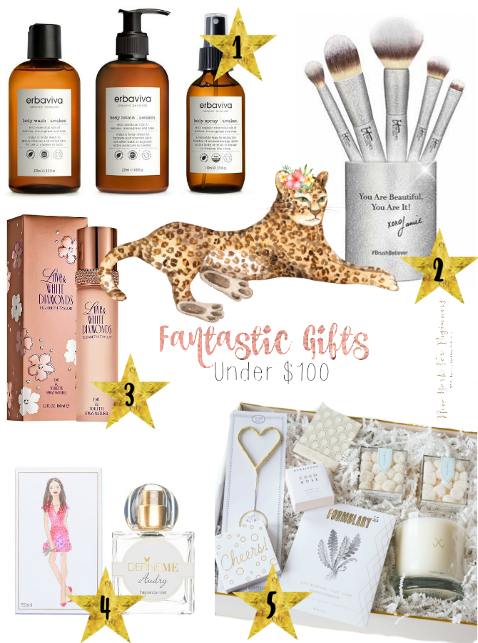 Holiday gift guide with ideas under 100 dollars including an IT cosmetics brush set, an Elizabeth Taylor cologne, an organic skincare bundle by erbaviva and a curated gift box by give lovely