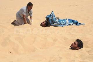 Псаммотерапия в Египте у горы Дакрур, в 3-х км к востоку от оазиса Сивы