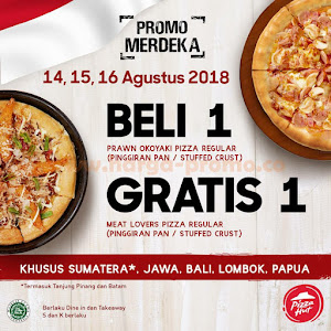 Promo Pizza Hut Beli Prawn Okoyaki GRATIS Meat Lovers Pizza 14-16 Agustus 2018