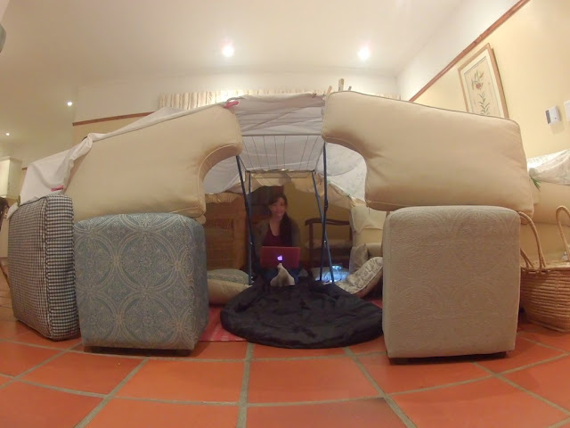 Adult coworking living room fort