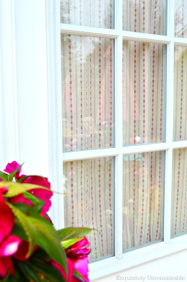 Red and white garage door curtain