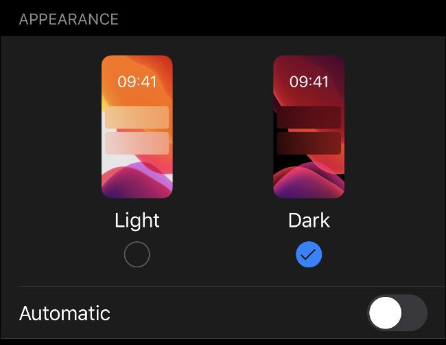 """تمكين وضع """"الظلام"""" على iOS 13."""