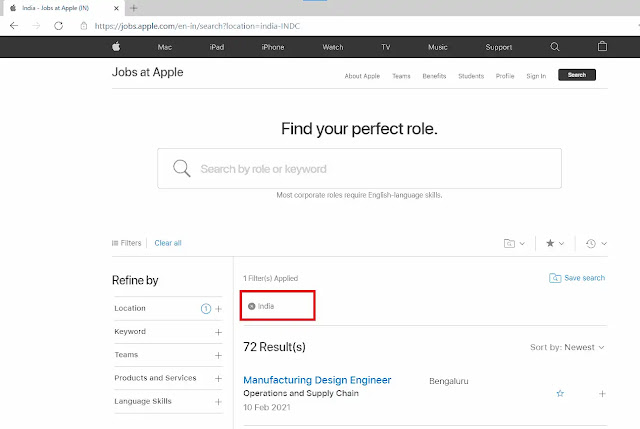 list of jobs in Apple India