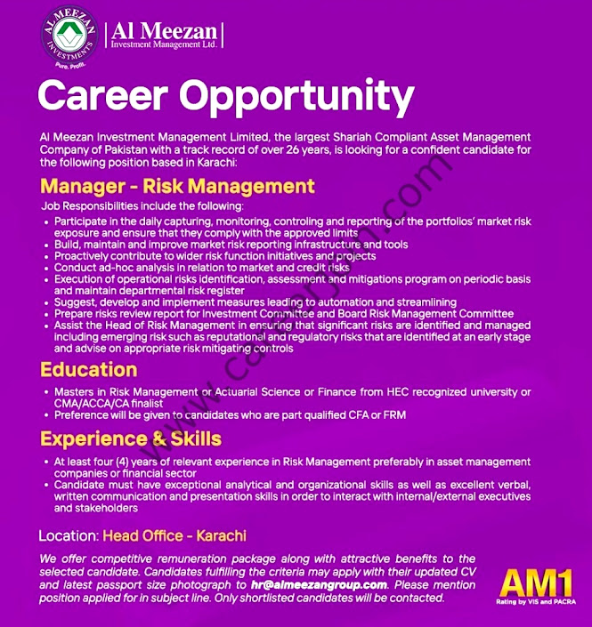 Latest Jobs in Al Meezan Investment Management Ltd 2021