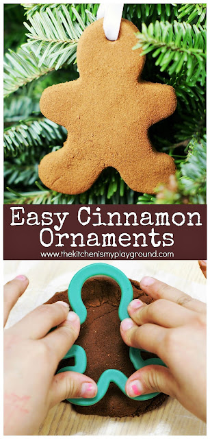 Easy 3-ingredient Cinnamon Ornaments ~ the perfect kid-friendly homemade ornament for gift giving or decorating at home! #christmas #homemadechristmasgifts #kidprojects #ornaments #handmadeornaments   www.thekitchenismyplayground.com