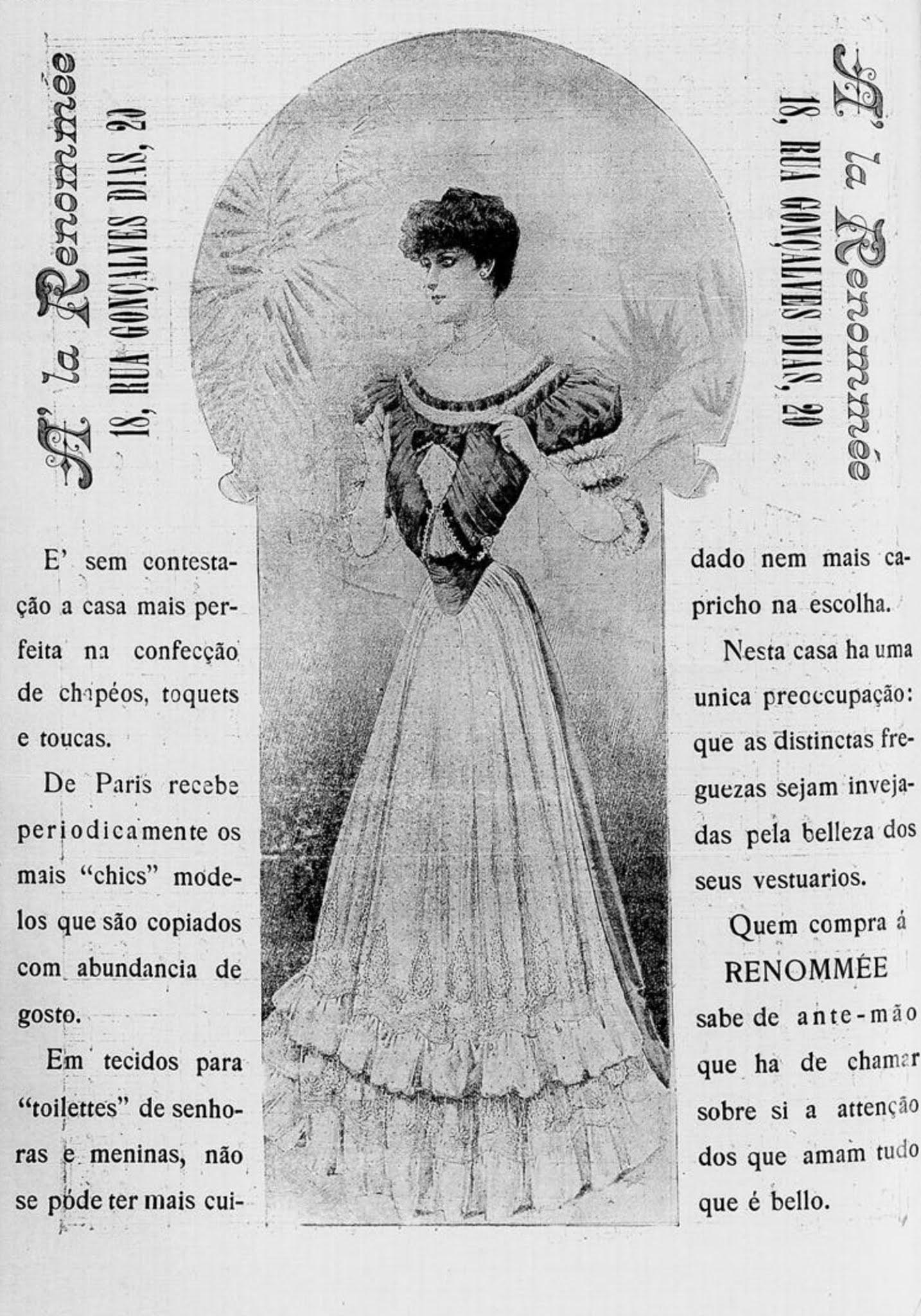 Anúncio antigo da loja de roupas La Renommée veiculada em 1905
