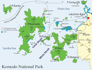 Mapa del Parque Nacional de Komodo. Indonesia.