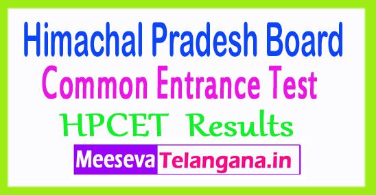 Himachal Pradesh CET Exam Results HPCET Result 2018
