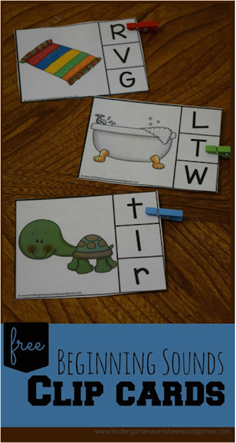 Free Beginning Sounds Slip Cards - these are so cute! I love the idea to make them self checking to use them in preschool, prek, kindergarten in an literacy center, home preschool, homeschool, etc.