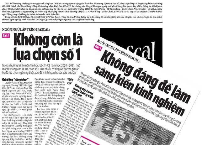 Ninh Thuận: Không dạy Pascal cho học sinh lớp 8