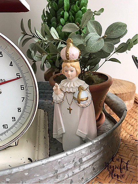 vintage scale Infant Jesus of Prague statue oval galvanized tray
