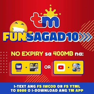 TM FUNSAGAD10 – 400MB for FB, YT, IG, ML, COD and more w/ No Expiry