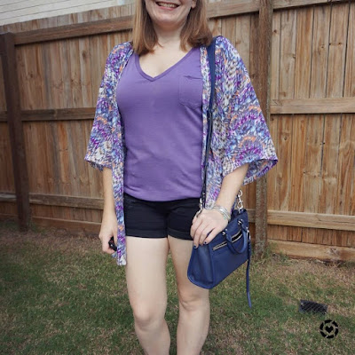 awayfromblue Instagram purple tee and printed kimono isolation dog walking mum style