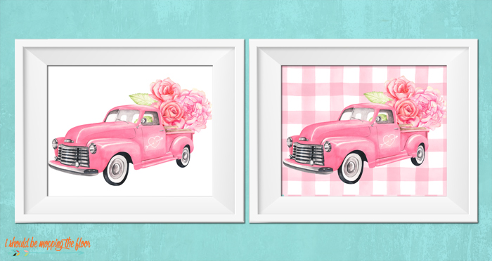 Watercolor Valentine Truck Printables