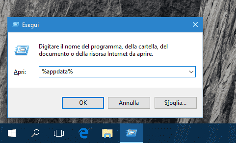 Finestra dialogo Esegui in Windows