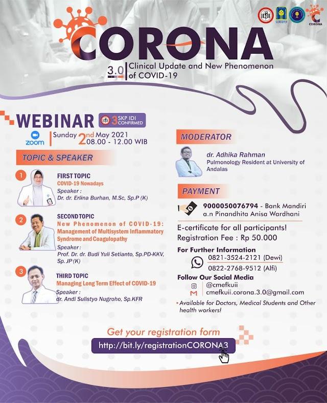 "(3 SKP IDI) Webinar Corona 3.0 ""Clinical Update and New Phenomenon of COVID-19"""