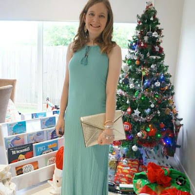 awayfromblue Instagram Christmas Day outfit grecian maxi dress rebecca minkoff leo envelope clutch in champagne gold accessories