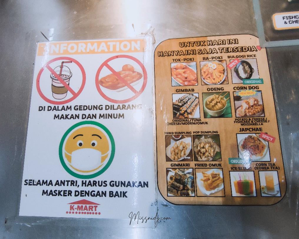 harga menu makanan k-mart