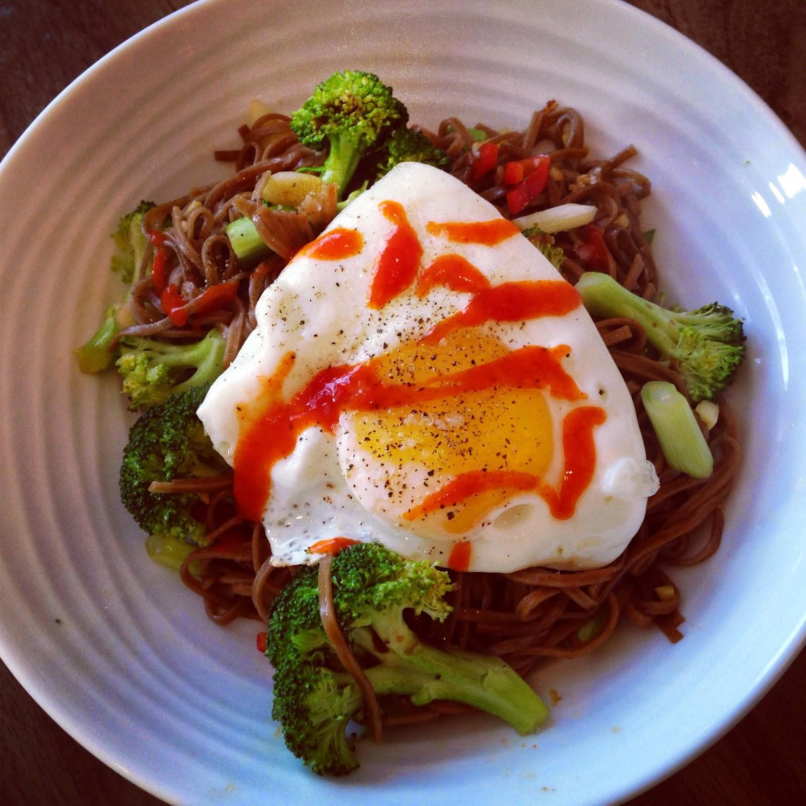 Diana Henry, A Change of Appetite, Soba Noodles, Broccoli noodles, Sriracha sauce, gingey bites