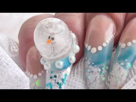 These Snow Globe Winter Nails Are So Extra Fabulous