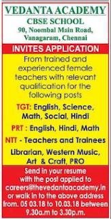 Vedanta Academy Wanted TGT/PRT/NTT Teachers- Walk-in