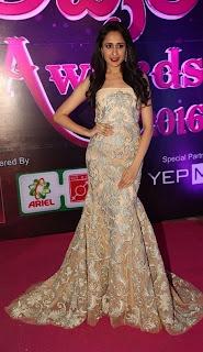 Actress Pragya Jaiswal Stills in Shoulderless Designer Dress at Apsara Awards 2016  0020.jpg