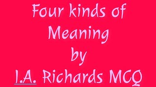 Four Kinds of Meaning by I A Richards