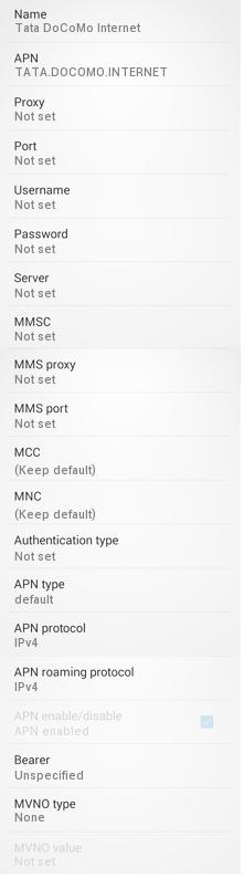 Tata DOCOMO GPRS Settings for Android